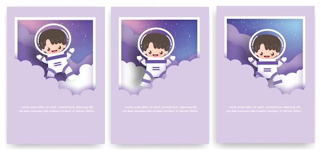 Set wenskaarten met schattige astronaut in het universum.