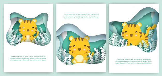 Set wenskaarten met schattige tijger in papier knippen stijl.