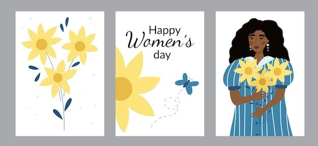Set wenskaarten met schoonheid afro-amerikaanse vrouw en zonnebloemen