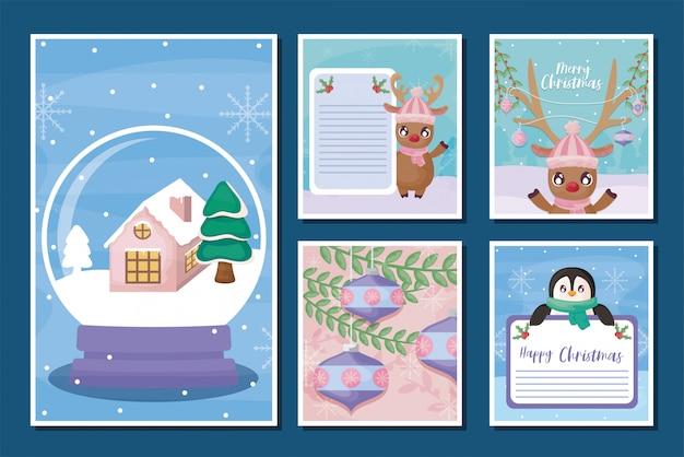 Set wenskaarten van vrolijk kerstfeest
