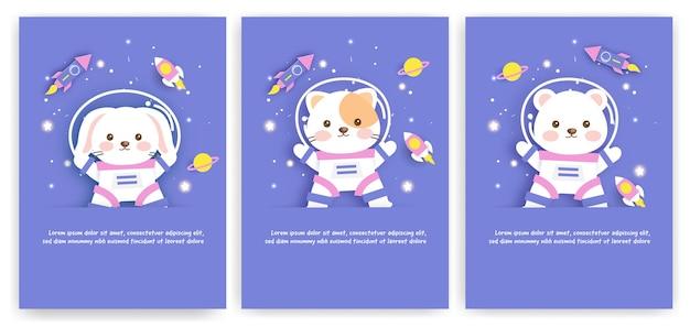 Set wenskaarten voor baby shower met een reis van schattige dieren naar de melkweg voor verjaardagskaart, briefkaart