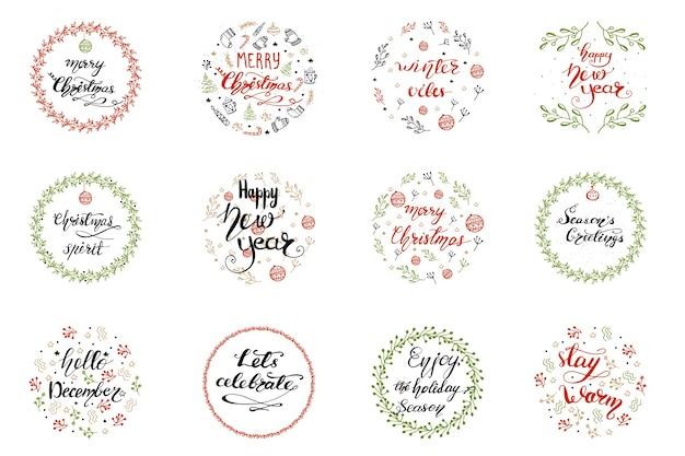 Set wenskaartontwerpen met kerst belettering. vector illustratie.