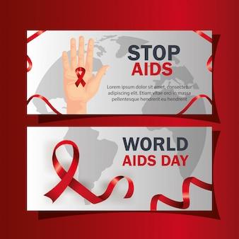 Set wereld aids dag met decoratie