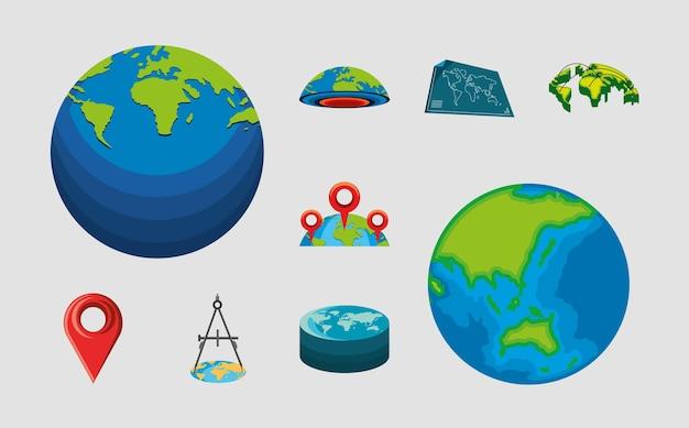 Set wereldkaarten