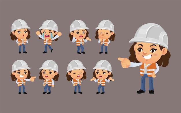 Set werknemer met verschillende emoties