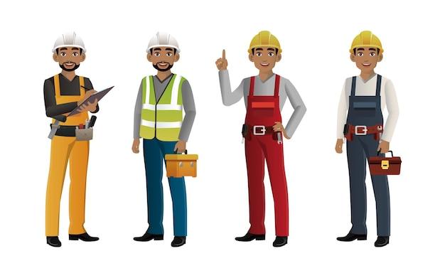 Set werknemer met verschillende poses Premium Vector