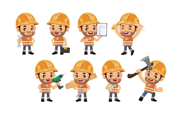 Set werknemer met verschillende poses