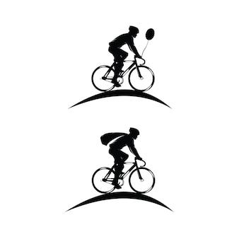 Set wielrenner logo silhouetten Premium Vector