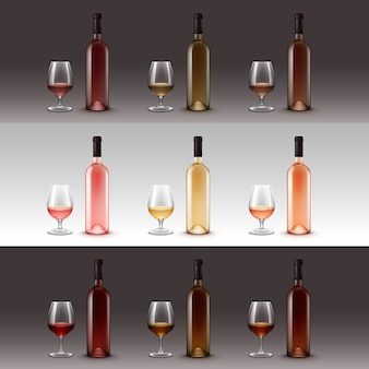 Set wijnflessen en glazen