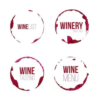 Set wijnvlekken met verschillende tekst.