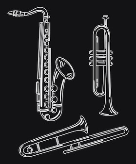 Set wind muziekinstrumenten. collectie van muzikale pijpen. koperen muziekinstrumenten.