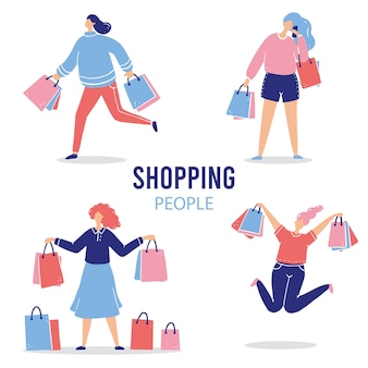 Set winkelen cartoon vrouw te koop, korting, koper, klant concept. vrouwelijk personage met boodschappenpakket.