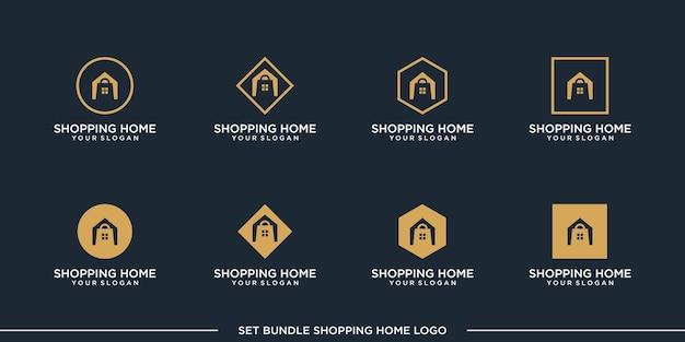 Set winkelen logo ontwerp vector bundel premium