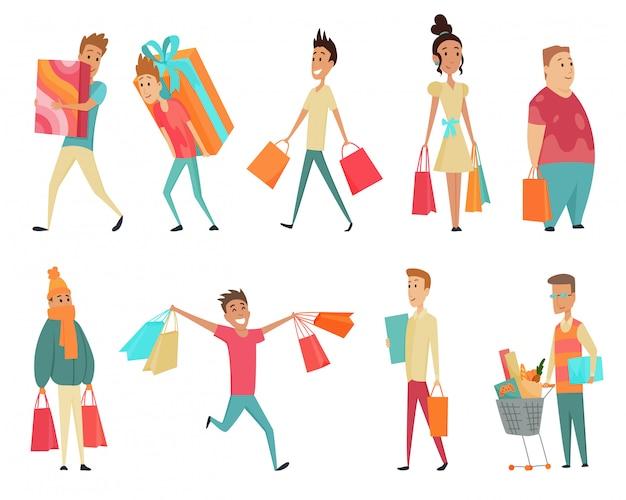 Set winkelen mensen concepten. plat ontwerp. verzameling van lachende vrouwen en man karakter met geschenkdoos, papieren zakken en trolley met goederen.