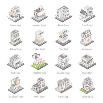 Set winkels en gebouwen isometrische pictogrammen