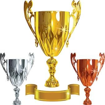 Set winnend succes gouden, zilveren, bronzen beker