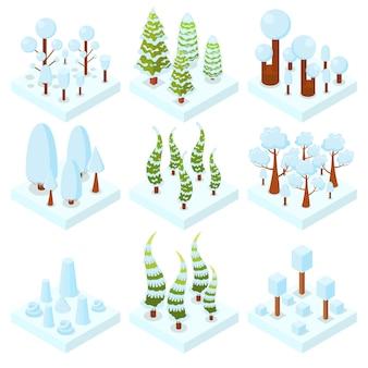 Set winter bomen. bos. bos gebied. isometrische 3d-elementen voor games, kaarten. oranje, rood en geel blad. vector illustratie.