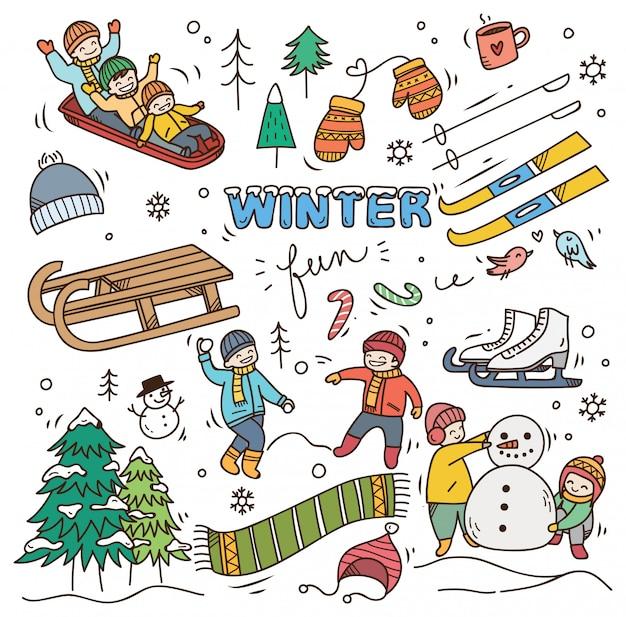 Set winter doodle