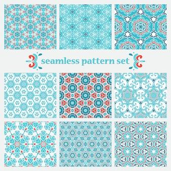 Set winter ornamentall ontwerpen. kerst cadeaupapier. abstract geometrisch patroon