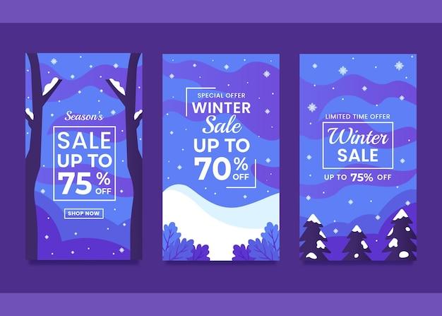 Set winter promo verkoop ontwerpsjabloon voor social media post