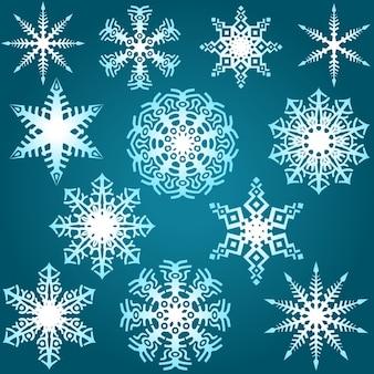 Set wintersneeuwvlokken