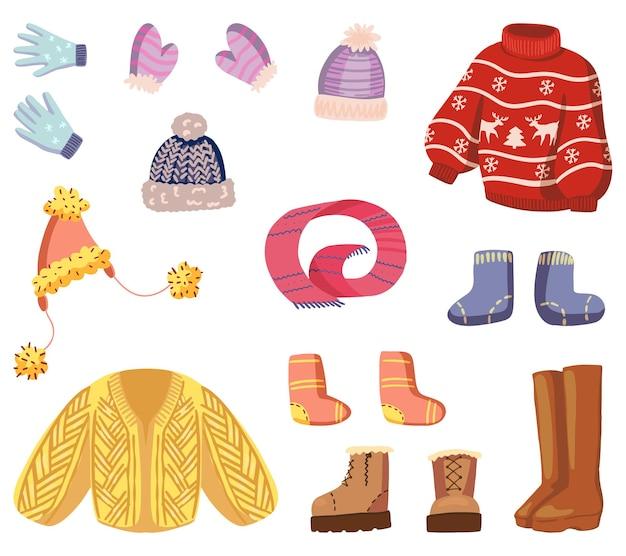 Set wintertijd attributen. tekeningen van warme kleding, accessoires. hand getrokken vectorillustraties. cartoon cliparts collectie geïsoleerd op wit.