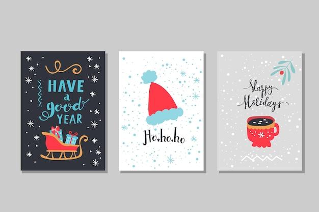 Set wintervakantie wenskaarten. kerst vectorillustratie