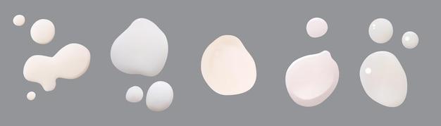 Set witte crèmedruppelsvector realistische uitstrijkjes set witte schuimcosmetica