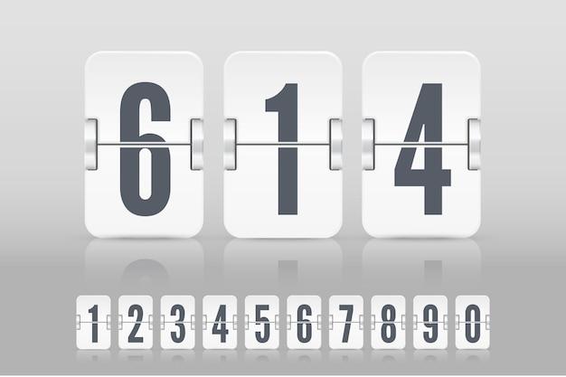 Set witte flip scorebord nummers met reflecties voor countdown timer of kalender geïsoleerd op lichte achtergrond. vectorsjabloon voor uw ontwerp.