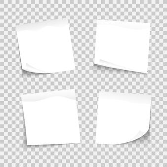 Set witte vellen notities van verschillende notitieblaadjes, papieren plaknotities, klaar voor uw bericht