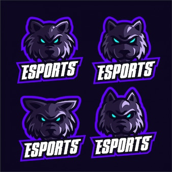 Set wolves esports logo sjabloon