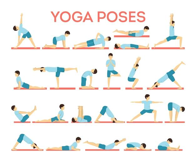 Set yoga asana voor mannen en vrouwen