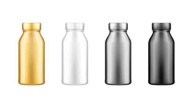 Set yoghurt, melk, sap of shampoo flessen met deksel mockup geïsoleerd op een witte achtergrond.