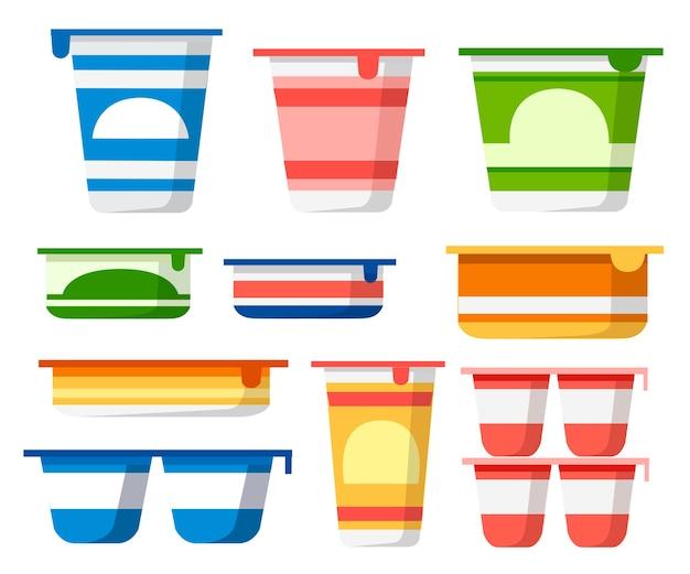 Set yoghurtcontainers Premium Vector