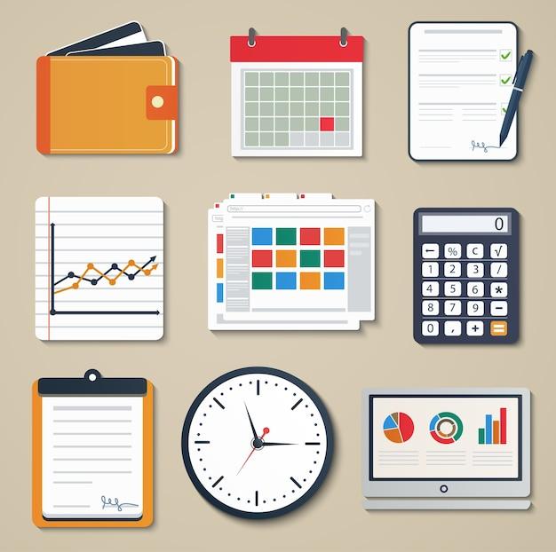 Set zakelijke elementen van marketing-, rapportage-, web- en mobiele ontwerppictogrammen