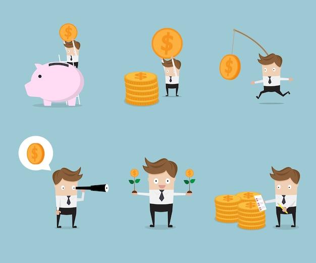 Set zakenman cartoon met geld munten