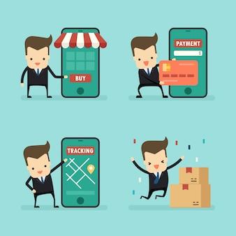 Set zakenman in online winkelen concept