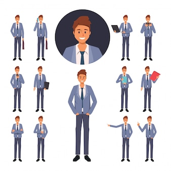 Set zakenman karakter in baan