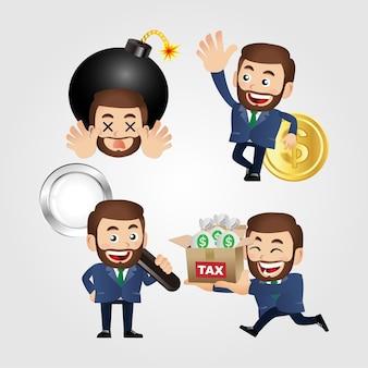 Set zakenman met verschillende emoties en objecten