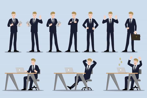 Set zakenman met verschillende poses.