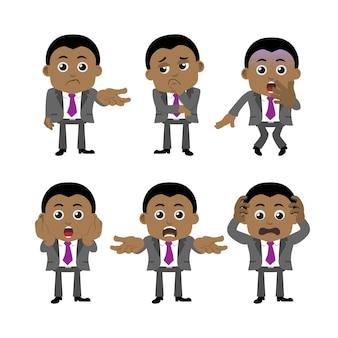 Set zakenman tekens in verschillende poses.