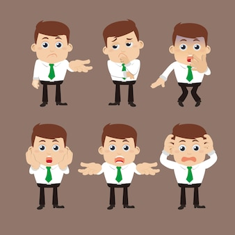 Set zakenmankarakters in verschillende poses