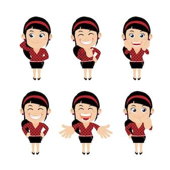 Set zakenvrouw karakters in verschillende poses