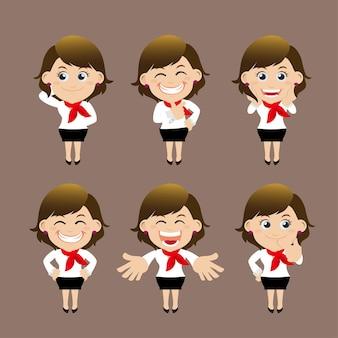 Set zakenvrouw tekens in verschillende poses