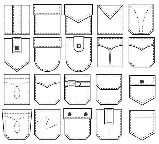 Set zakpatches. overzichtselementen voor kleding, jurken en overhemden in uniforme of casual stijl.