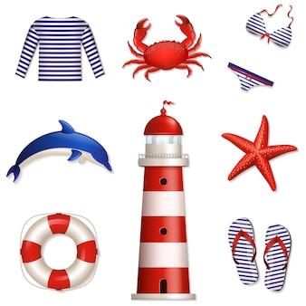 Set zee- en strandelementen
