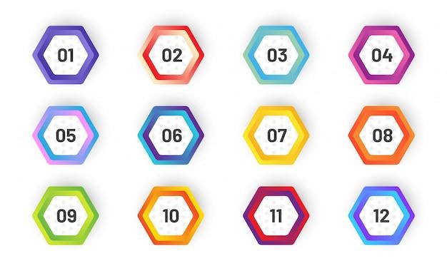 Set zeshoekige opsommingsteken. kleurrijke verloopmarkeringen met nummer