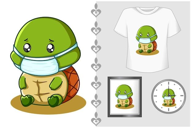 Set, zieke schildpad met een masker