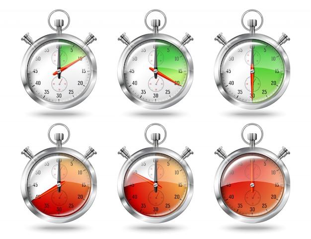Set zilveren heldere stopwatch klokintervallen, geïsoleerd