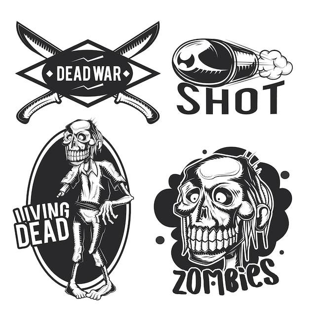 Set zombie emblemen, etiketten, insignes, logo's.